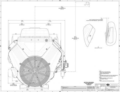 40hp engine diagram measurements for Briggs Vanguard 993-cc motor, front view