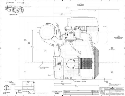 40-hp engine diagram measurements for Briggs Vanguard 993-cc motor, side view dimensions