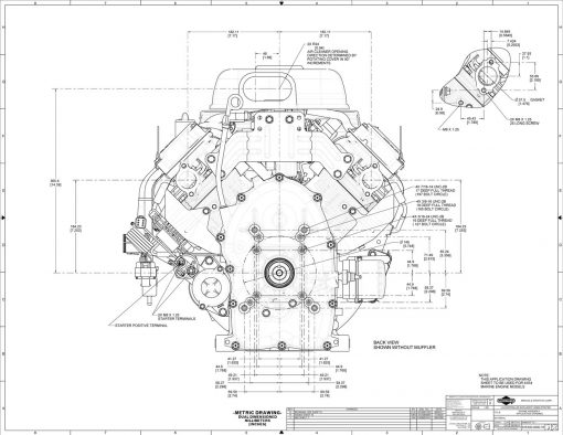 40-hp engine diagram measurements for Briggs Vanguard 993-cc motor, rear view, rear mounting holes for pto shaft