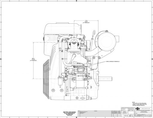 40-hp engine diagram measurements for Briggs Vanguard 993cc motor, side view, pto lifting hooks