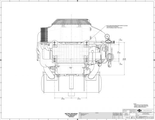 40-hp engine diagram measurements for Briggs Vanguard 993cc motor, bottom view, mounting holes
