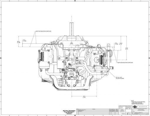 40-hp engine diagram measurements for Briggs Vanguard 993-cc motor, top view