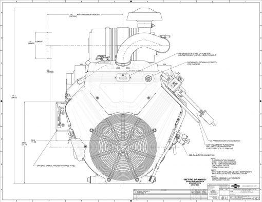 40hp big block engine diagram measurements for Briggs Vanguard 993-cc motor, front view