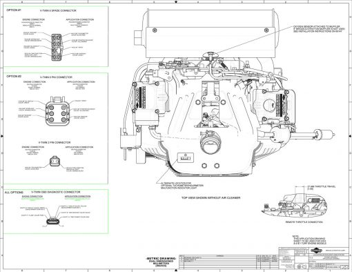 40hp engine diagram measurements for Briggs Vanguard 993cc motor, top view, plug connector wiring