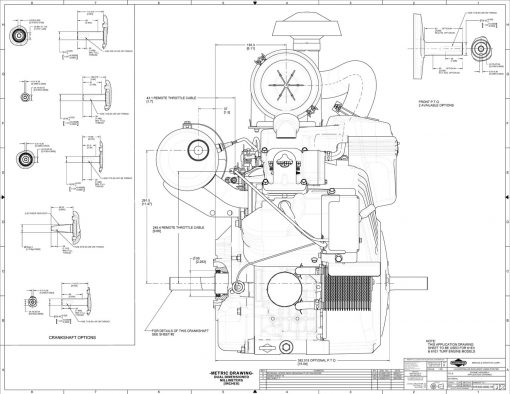 40-hp engine diagram measurements for Briggs Vanguard 993cc motor, side view, pto shaft size