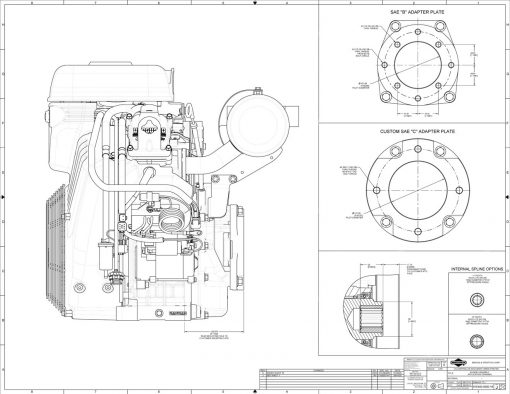 40-hp engine diagram measurements for Briggs Vanguard 993cc motor, side view, adapter plate