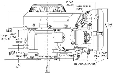 16-hp engine diagram measurements for Briggs Vanguard 479cc motor