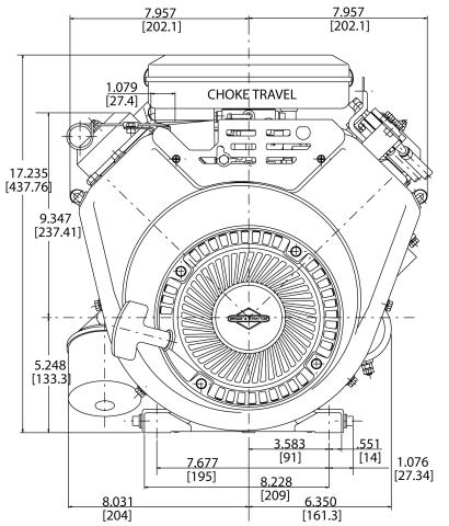 16-hp engine diagram measurements for Briggs Vanguard 479cc motor front view