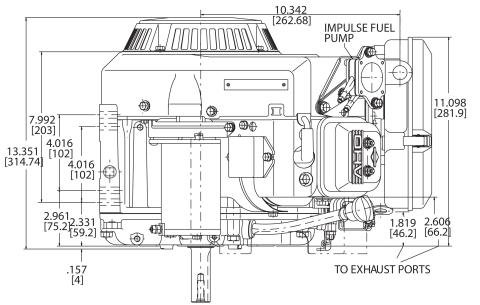 18hp engine diagram measurements for Briggs Vanguard 570cc motor side view