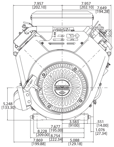 23-hp engine diagram measurements for Briggs Vanguard 627-cc motor front view