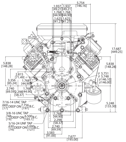 23-hp engine diagram measurements for Briggs Vanguard 627cc motor rear view