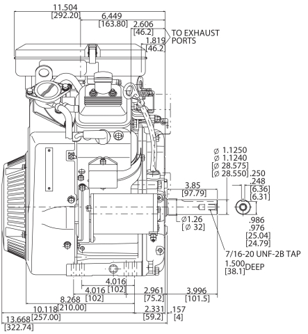 23-hp engine diagram measurements for Briggs Vanguard 627cc motor side view 1-1/8 shaft